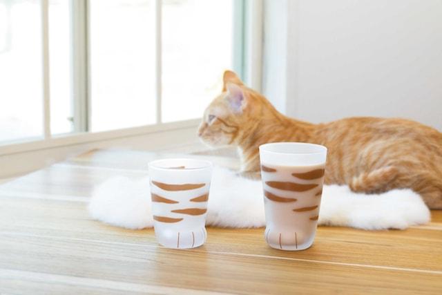 猫の手をモチーフにしたグラス(茶トラ柄)