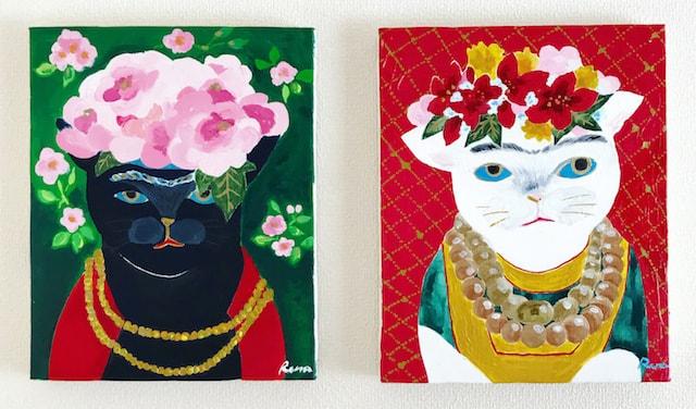 フリーダ・カーロの肖像をモチーフに描いた猫作品 by 山中玲奈
