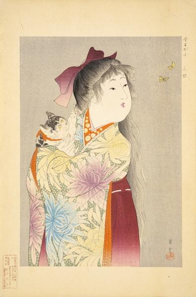 猫の絵画・山本昇雲「今すがた小蝶」