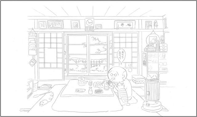 猫マンガ「ねことじいちゃん」の塗り絵イメージ1