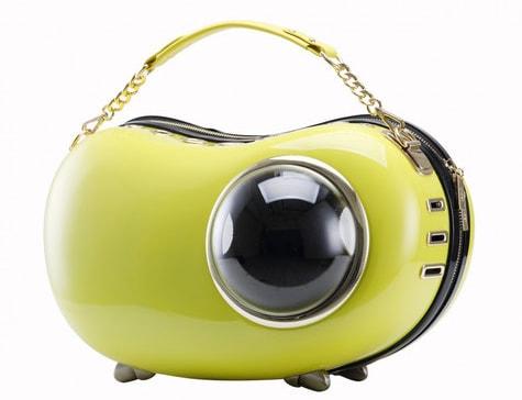 横型の豆型キャリーバッグ「U-pet アニマピーポッド」イエローカラー