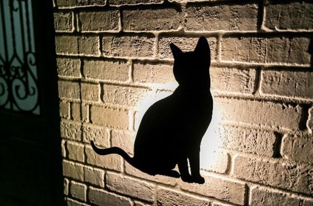 玄関ドアの横にある猫型シルエット(夜間点灯時) by necofino(ネコフィーノ)