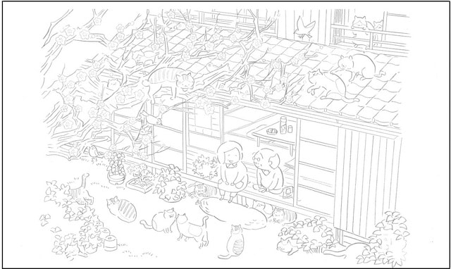 猫マンガ「ねことじいちゃん」の塗り絵イメージ2