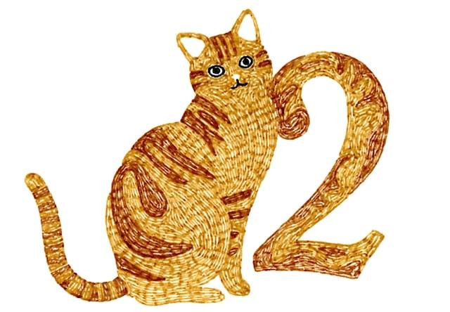茶トラ猫の刺繍