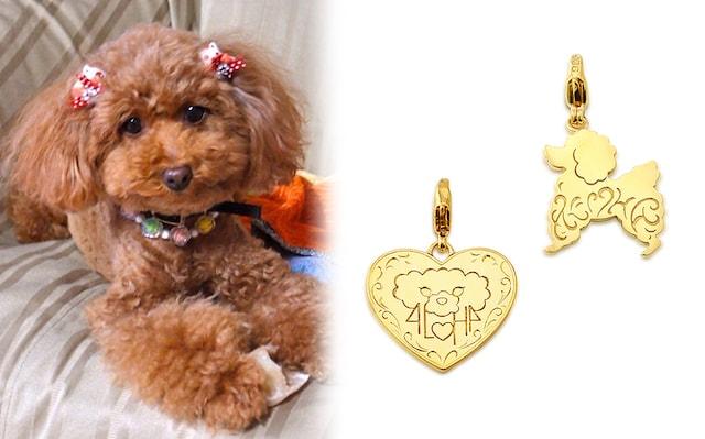 愛犬の写真を元に作った飼い主と犬用のお揃いペンダント
