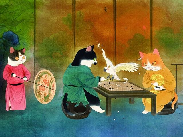 中国唐代の人物や文化を猫に置き換えて描いた「かわいいねこの絵巻物」