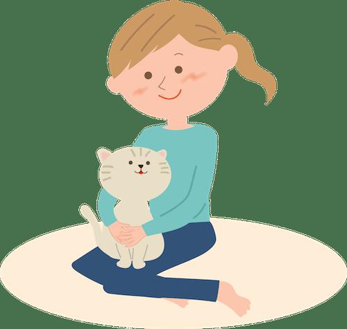人と猫の触れ合いイメージイラスト