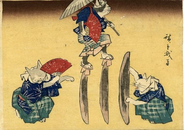 歌川広重 作「猫の鰹節渡り」