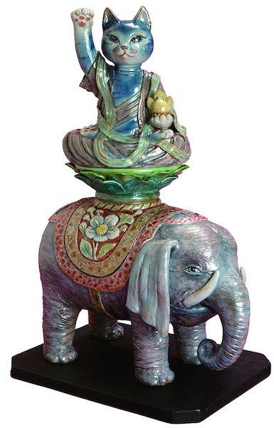 鈴木義美 作「招き普賢菩薩猫騎象像」