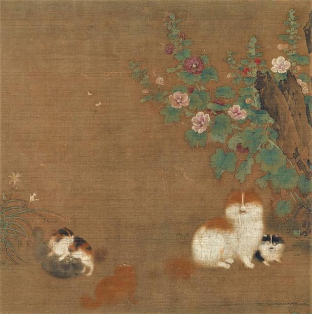 中国・南宋の宮廷画家、毛益が描いた「蜀葵遊猫図(しょっきゆうびょうず)」