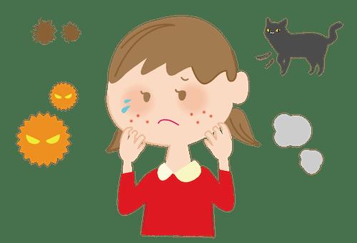 猫アレルギーに苦しむ人のイメージイラスト