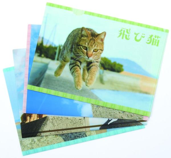 五十嵐健太さんのネコ写真をモチーフにした飛び猫クリアファイル