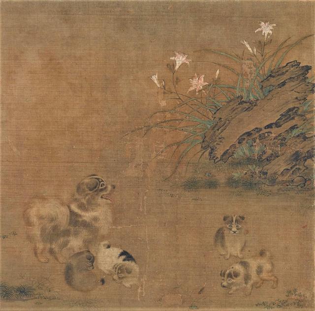 中国・南宋の宮廷画家、毛益が描いた「萱草遊狗図(かんぞうゆうくず)」