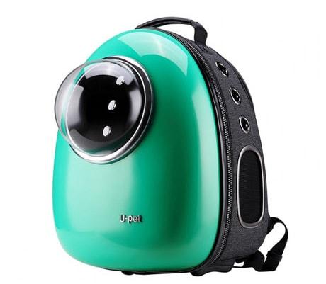 U-petの宇宙船のような猫キャリーバッグ(グリーンカラー)