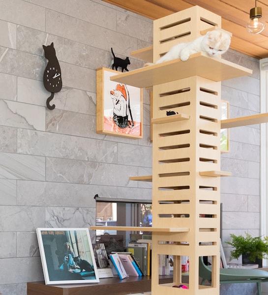 壁に猫のアートやネコ時計を設置