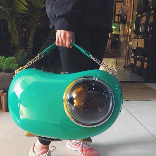 宇宙船のような横型キャリーバッグ「U-pet アニマピーポッド」