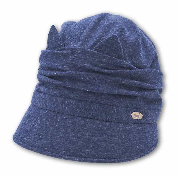 クロッシェ猫帽子 ネイビーカラー