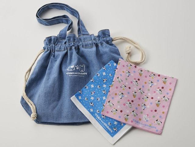 デニム巾着バッグ&ハンカチーフ by タマ&フレンズ 〜うちのタマ知りませんか?〜