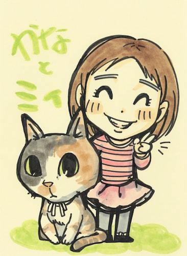 猫+飼い主さんの似顔絵イメージ