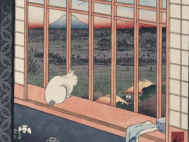 歌川広重の猫の浮世絵「名所江戸百景 浅草田圃酉の町詣 」