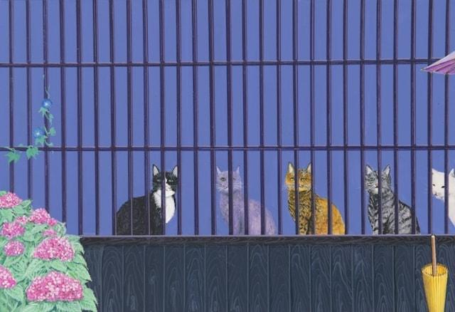 格子窓の猫 by 画家・水間玲