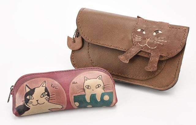 「クラフトエマ」 牛革 メガネケース/牛革 手縫い猫 札入れ