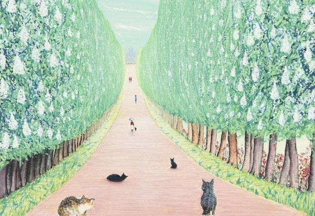 アカシアの道で戯れる猫 by 画家・水間玲