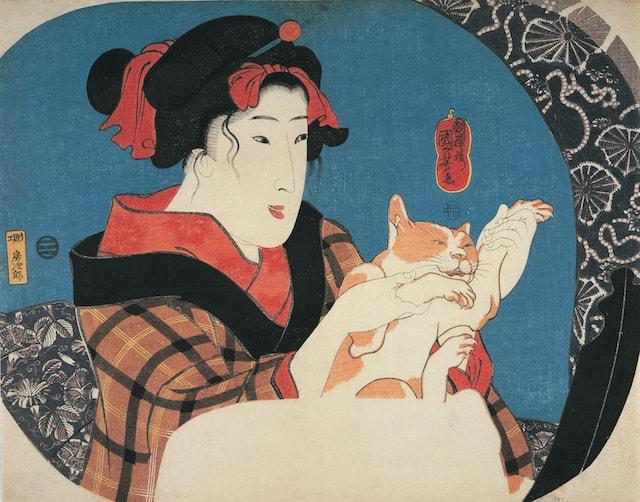 歌川国芳「鏡面シリーズ 猫と遊ぶ娘」