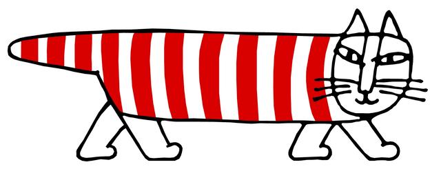 赤と白のシマシマ模様の猫キャラクター「マイキー」