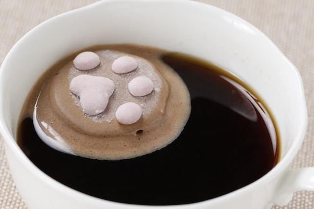 コーヒーカップに浮かべた肉球型のマシュマロ