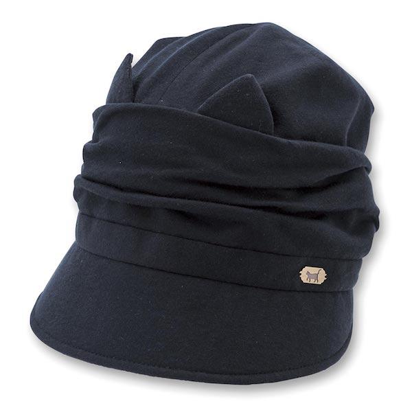 クロッシェ猫帽子 ブラックカラー