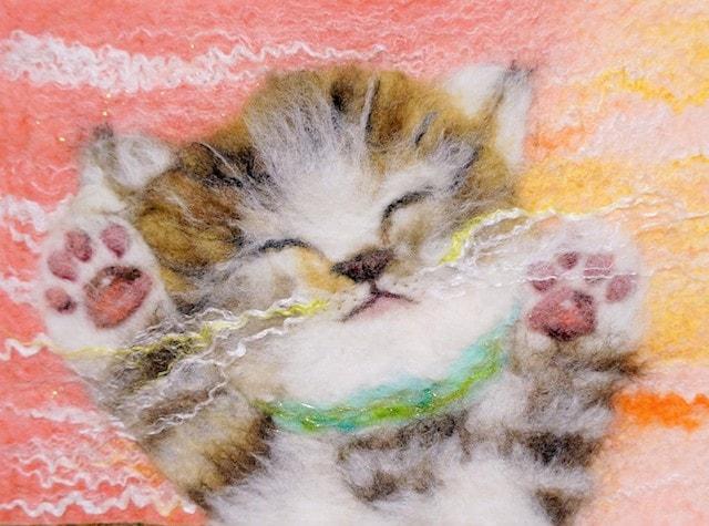羊毛フェルトで作った猫の絵画 by AIKA FELT