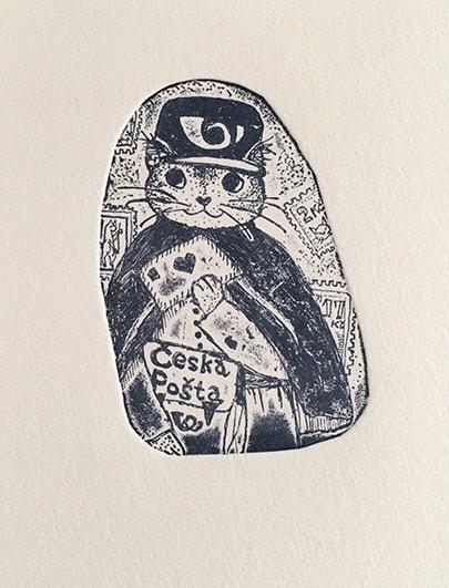 かわいい猫の版画 by 桐山暁