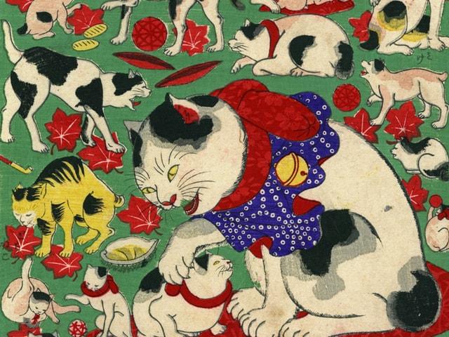 神戸市にある絵葉書資料館で「猫の浮世絵展」が12月まで開催中