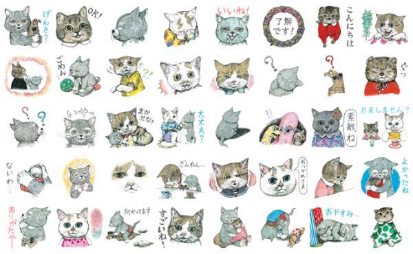 ヒグチユウコさんの絵本作品「せかいいちのねこ」「いらないねこ」のLINEスタンプ