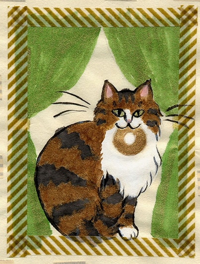 猫が死体をつれてきたイラスト by おちゃのこ彩々