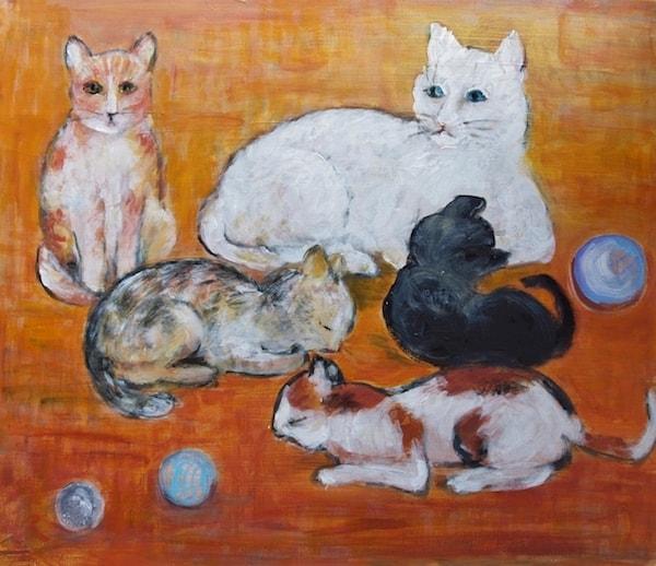 5匹の猫を描いたアート作品 by 猫ねこ展覧会2018