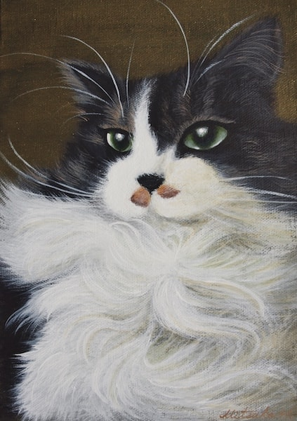 ハチワレ長毛猫のアート作品 by 猫ねこ展覧会2018