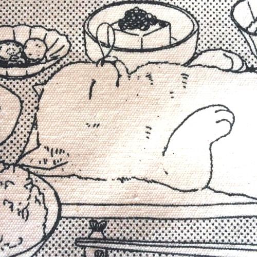 猫の開き定食トートバッグの拡大写真
