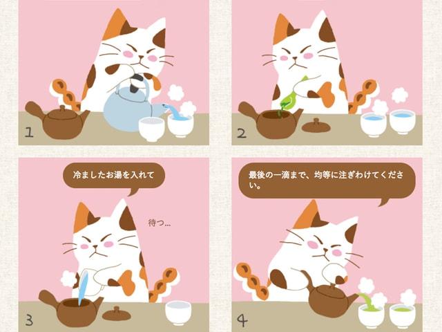 11ヶ国語に対応!猫の4コマ漫画で楽しく日本茶の淹れ方を学べるサイト「NIHONCHAFAN.COM」