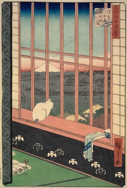 歌川広重の猫が描かれている浮世絵「名所江戸百景 浅草田圃酉の町詣」1857年