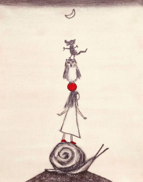 画家・さとうまいこが描いた猫モチーフの絵「Under the moon」