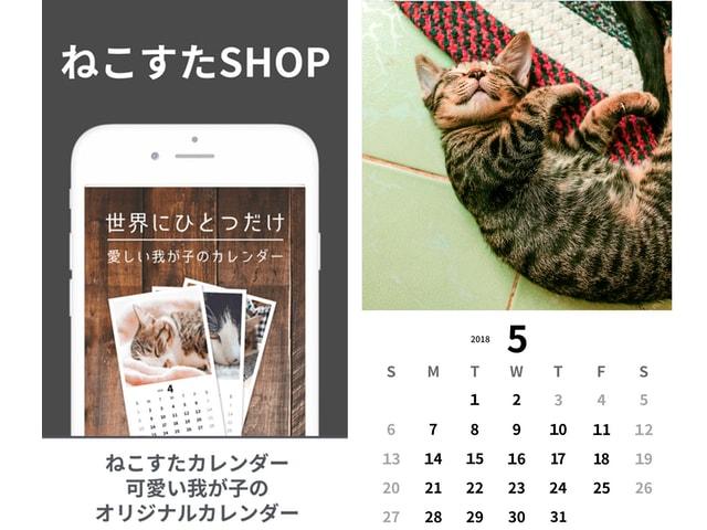 カレンダー作成サービスのイメージ by 猫好き専用のSNSアプリ「ねこすた」