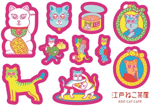 江戸ねこ茶屋のオリジナルグッズ(猫ステッカー)