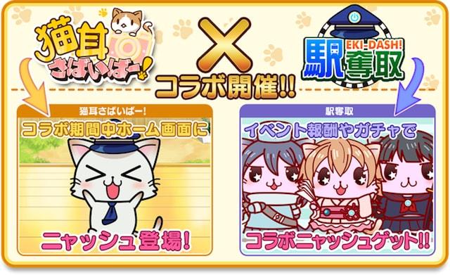 ゲームアプリ「猫耳さばいばー!」と「駅奪取」のコラボイベント