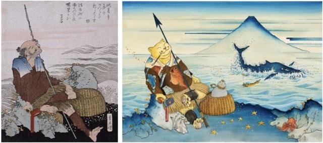 左)葛飾北斎 「漁師図」(前期)/右)ますむらひろし≪漁師図≫2018年発表©ますむら・ひろし(通期)