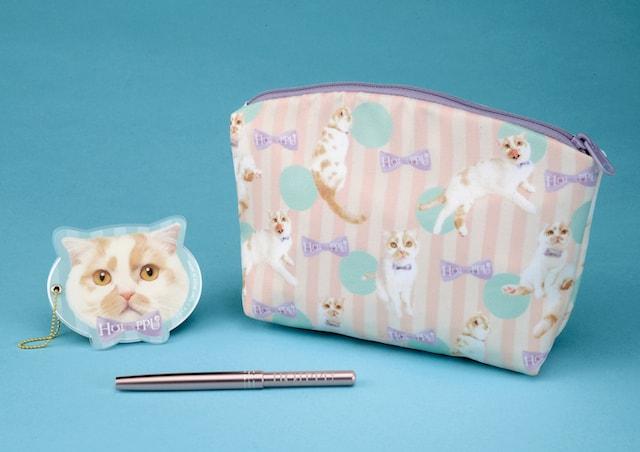 ちくわ柄の人気猫「ホイップ」のポーチ、ミラー、リップブラシ3点セット by タカラトミー