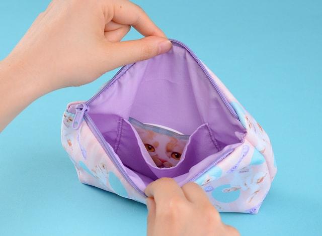 ちくわ柄の人気猫「ホイップ」のポーチ(内部)