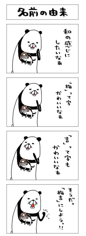パンダ化した飼い主と、愛犬・梅吉 by マンガ「パンダと犬」