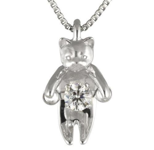 猫モチーフデザインの揺れるダイヤモンド ネックレス ダンシングストーン